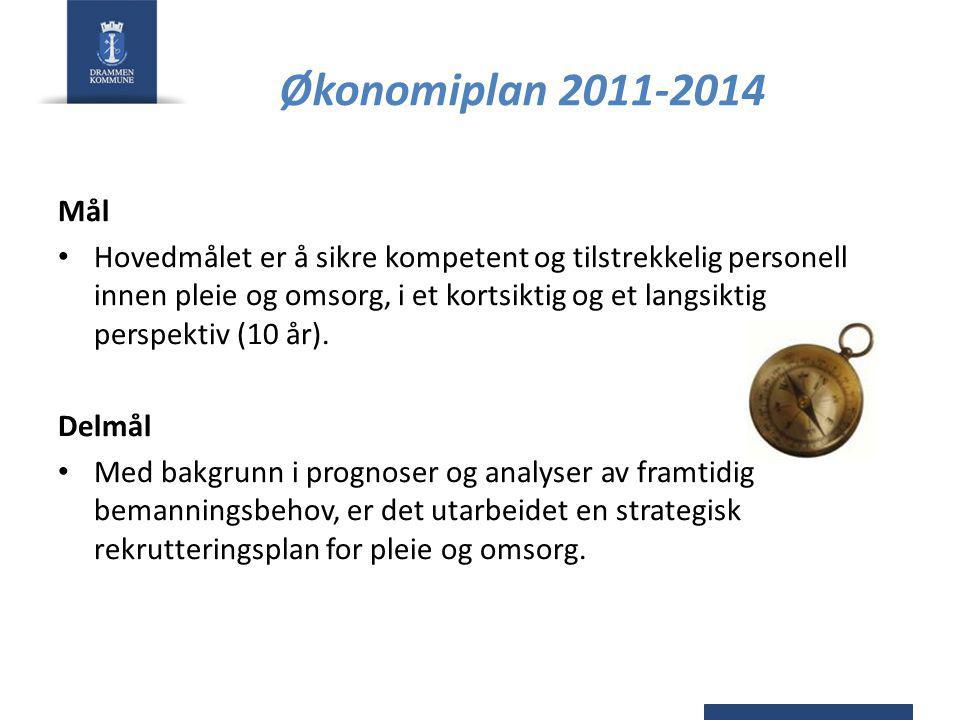 Økonomiplan 2011-2014 Mål Hovedmålet er å sikre kompetent og tilstrekkelig personell innen pleie og omsorg, i et kortsiktig og et langsiktig perspektiv (10 år).