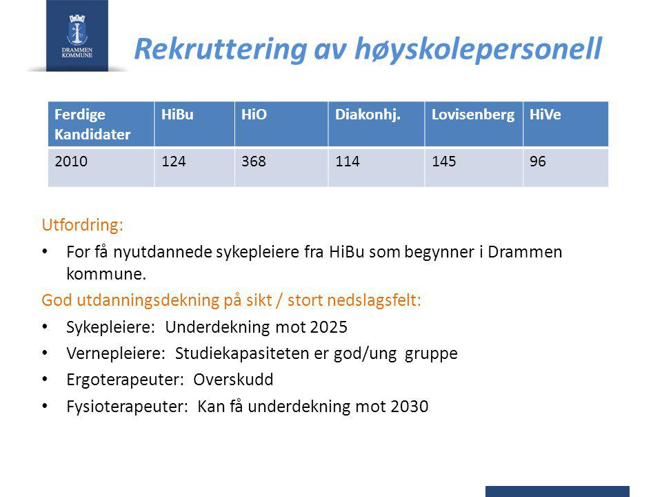 Rekruttering av høyskolepersonell Utfordring: For få nyutdannede sykepleiere fra HiBu som begynner i Drammen kommune. God utdanningsdekning på sikt /