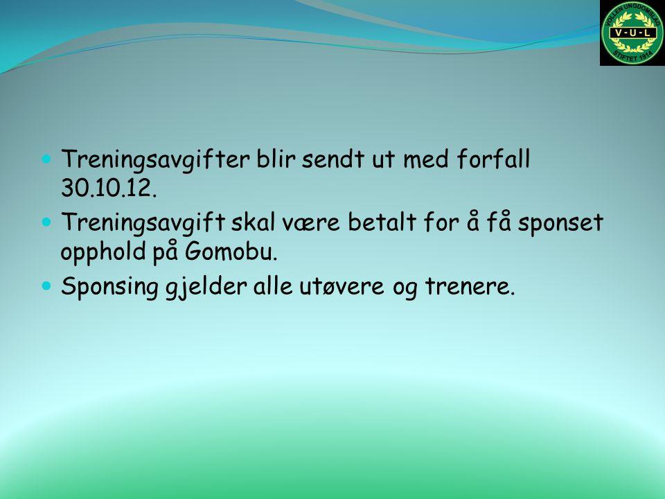 Treningsavgifter blir sendt ut med forfall 30.10.12. Treningsavgift skal være betalt for å få sponset opphold på Gomobu. Sponsing gjelder alle utøvere