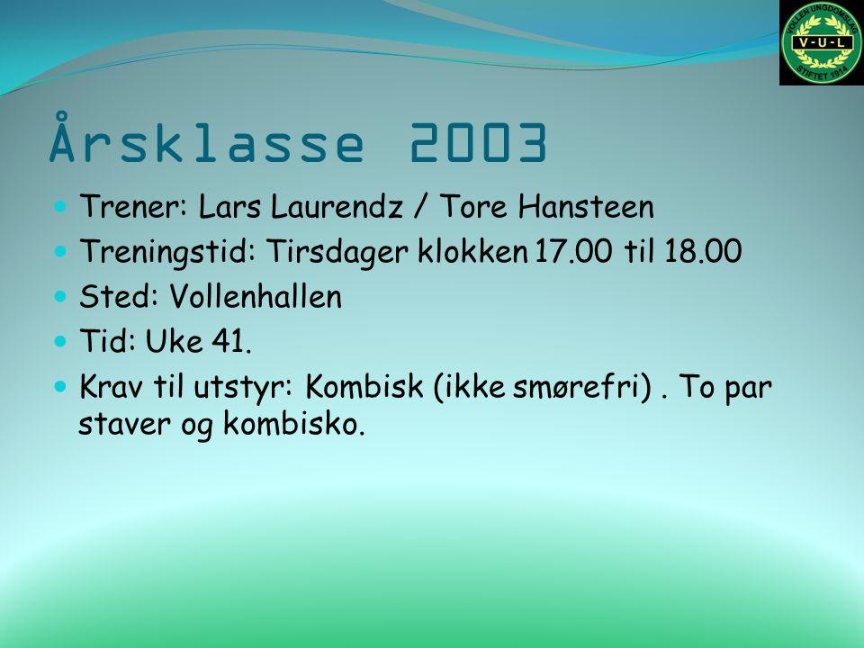 Årsklasse 2003 Trener: Lars Laurendz / Tore Hansteen Treningstid: Tirsdager klokken 17.00 til 18.00 Sted: Vollenhallen Tid: Uke 41. Krav til utstyr: K