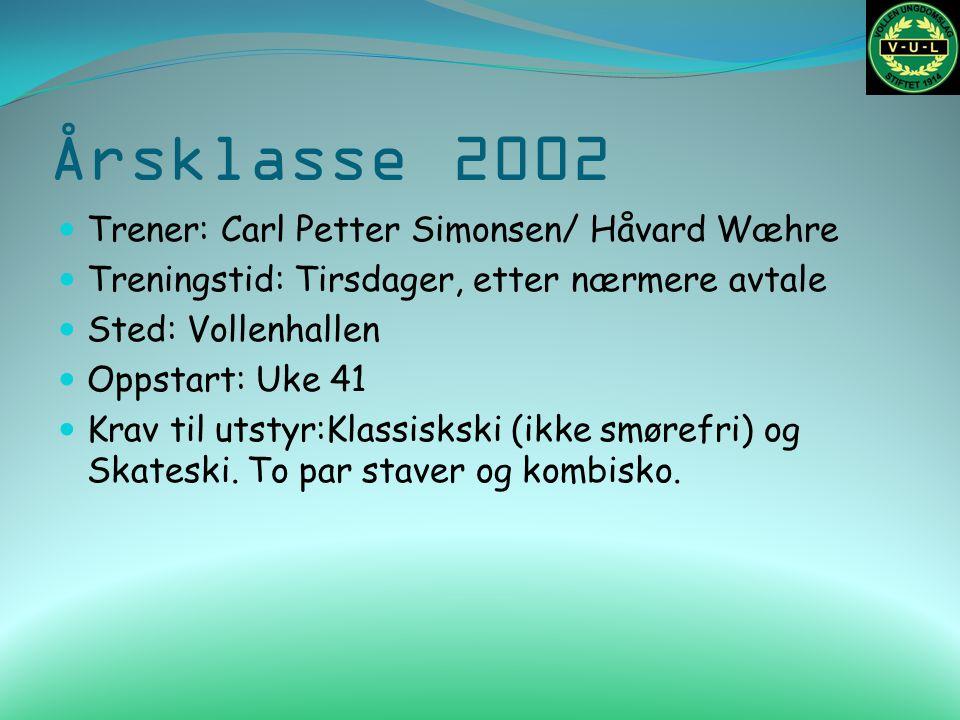Årsklasse 2002 Trener: Carl Petter Simonsen/ Håvard Wæhre Treningstid: Tirsdager, etter nærmere avtale Sted: Vollenhallen Oppstart: Uke 41 Krav til ut
