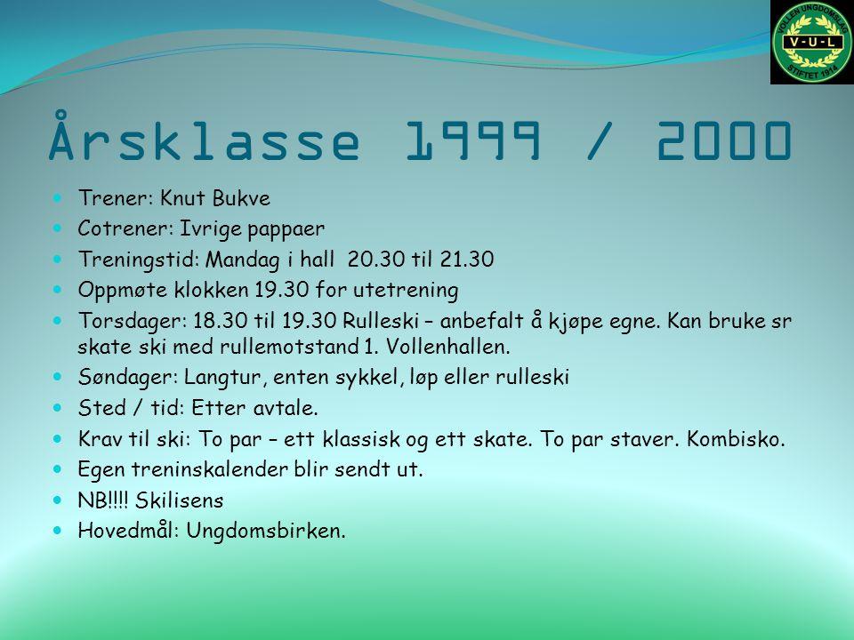 Årsklasse 1999 / 2000 Trener: Knut Bukve Cotrener: Ivrige pappaer Treningstid: Mandag i hall 20.30 til 21.30 Oppmøte klokken 19.30 for utetrening Tors