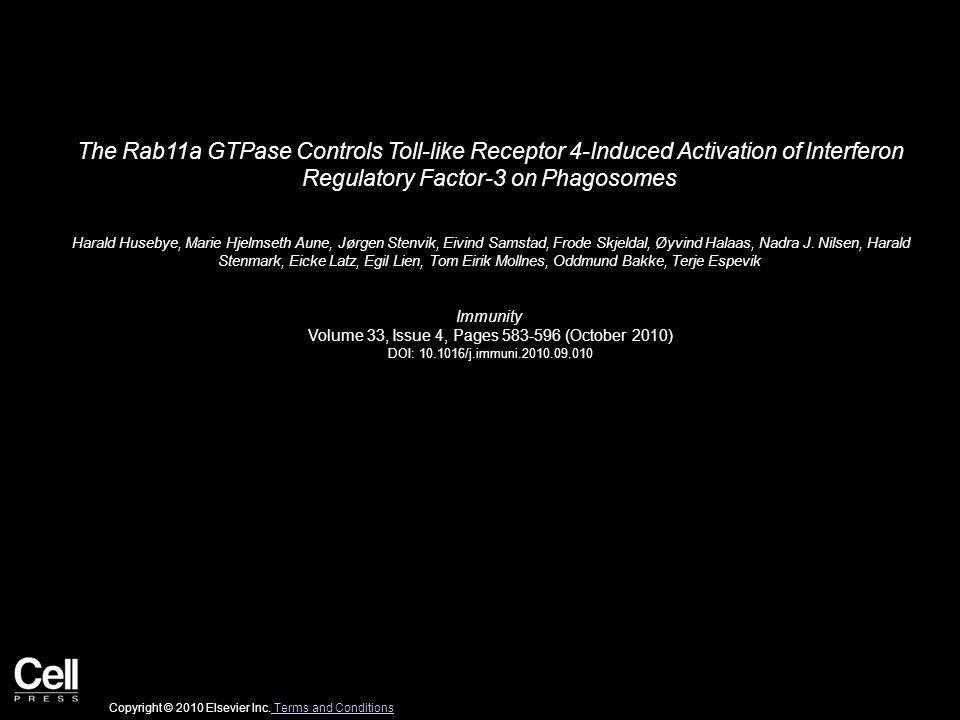 The Rab11a GTPase Controls Toll-like Receptor 4-Induced Activation of Interferon Regulatory Factor-3 on Phagosomes Harald Husebye, Marie Hjelmseth Aune, Jørgen Stenvik, Eivind Samstad, Frode Skjeldal, Øyvind Halaas, Nadra J.
