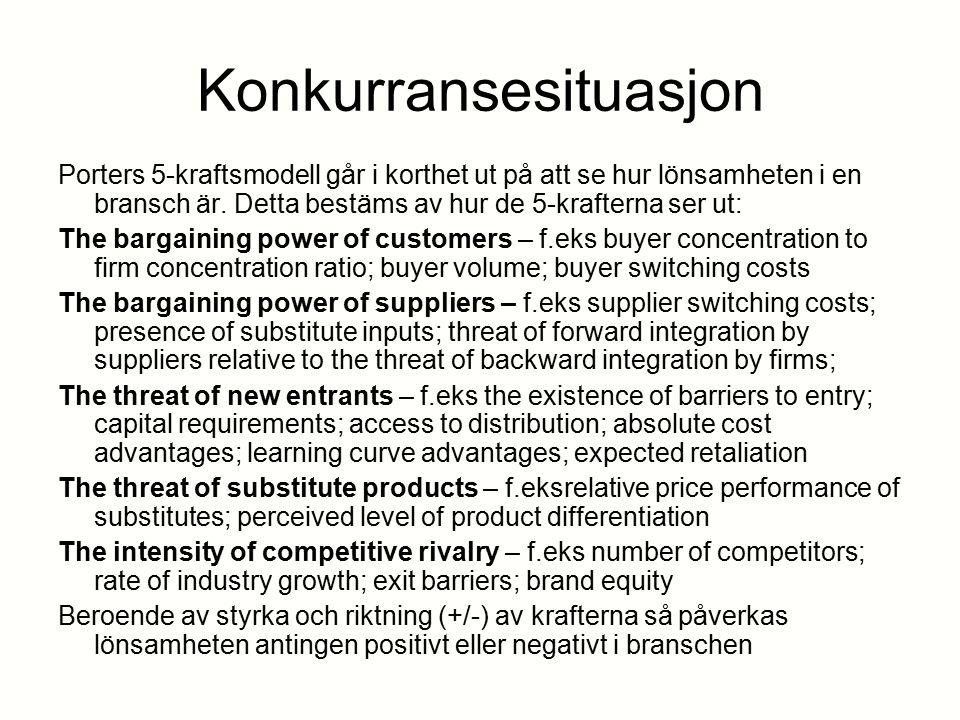 Konkurransesituasjon Porters 5-kraftsmodell går i korthet ut på att se hur lönsamheten i en bransch är. Detta bestäms av hur de 5-krafterna ser ut: Th