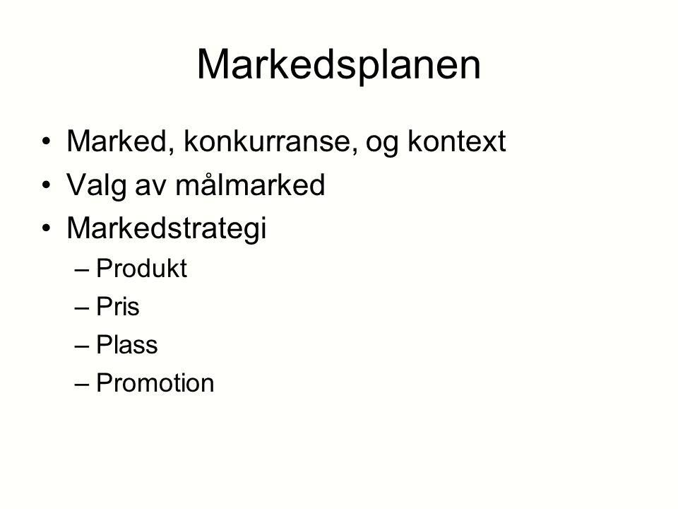 Markedsplanen Marked, konkurranse, og kontext Valg av målmarked Markedstrategi –Produkt –Pris –Plass –Promotion