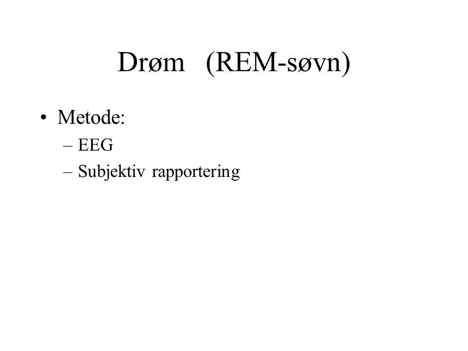 Drøm (REM-søvn) Metode: –EEG –Subjektiv rapportering