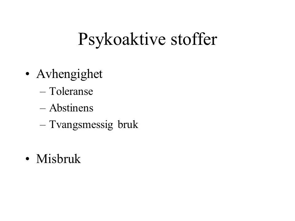 Psykoaktive stoffer Avhengighet –Toleranse –Abstinens –Tvangsmessig bruk Misbruk