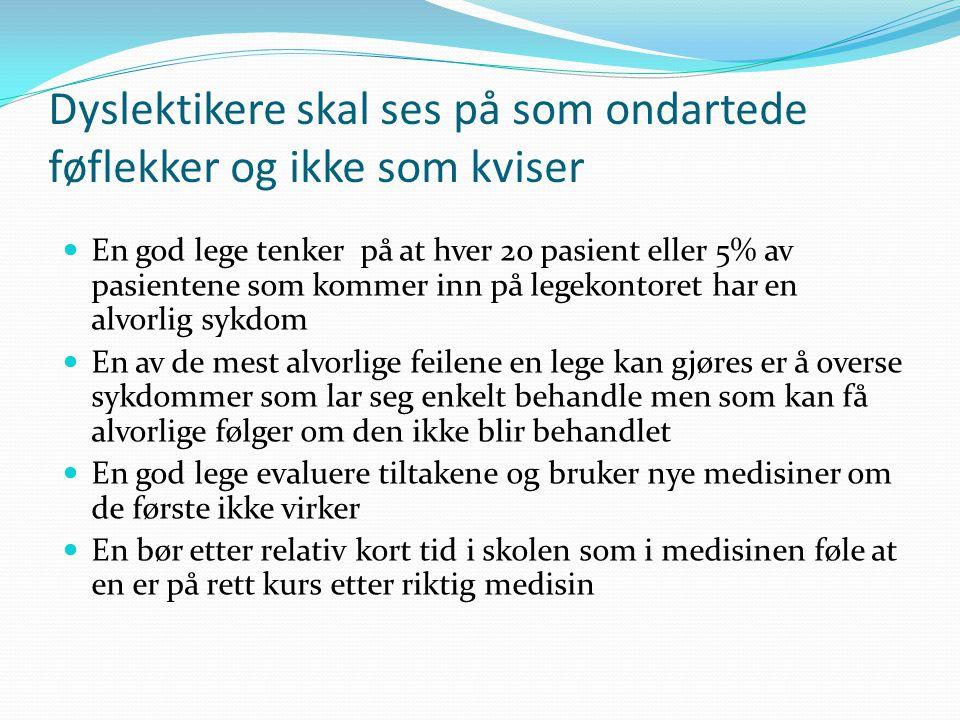 Tidlig og riktig innsatts er viktig Jo tidligere jo lettere å hjelpe Riktig innsats i første eller andre klasse gir 80% sansynlighet for å opparbeide normale leseferdigheter Riktig innsats i 3 klasse er det 50% sannsynlighet for å opparbeide normale leseferdigheter Riktige innsats i 5 klasse eller senere 10-15% sannsynlighet for å utvikle normale leseferdighet I Finland tidlig innsatts i Norge sen innsatts I Norge har en av fire 9 klassinger funksjonelle lesevansker I Finland en av 14 9 klassinger funksjonelle lesevansker
