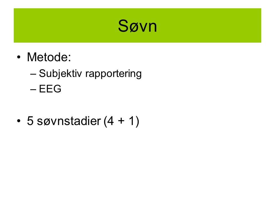 Søvn Metode: –Subjektiv rapportering –EEG 5 søvnstadier (4 + 1)