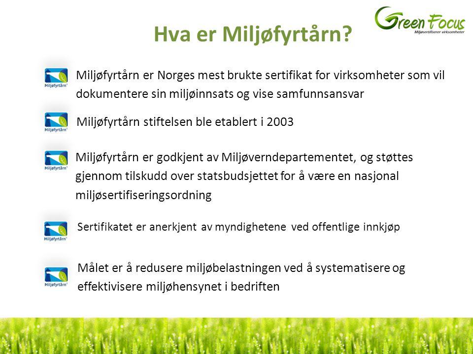 Hva er Miljøfyrtårn? Miljøfyrtårn er Norges mest brukte sertifikat for virksomheter som vil dokumentere sin miljøinnsats og vise samfunnsansvar Miljøf
