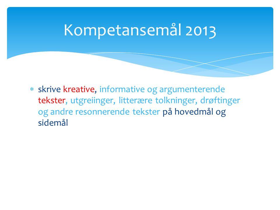  skrive kreative, informative og argumenterende tekster, utgreiinger, litterære tolkninger, drøftinger og andre resonnerende tekster på hovedmål og sidemål Kompetansemål 2013