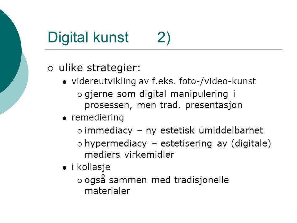 Digital kunst 2)  ulike strategier: videreutvikling av f.eks.