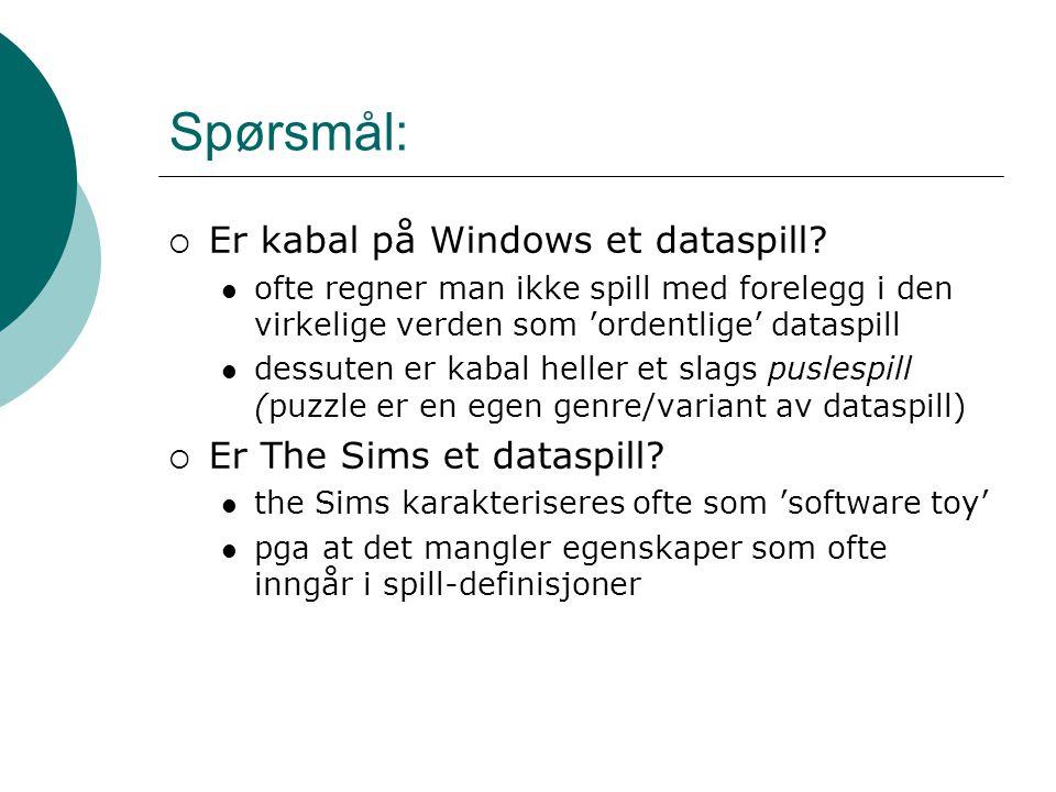 Spørsmål:  Er kabal på Windows et dataspill.