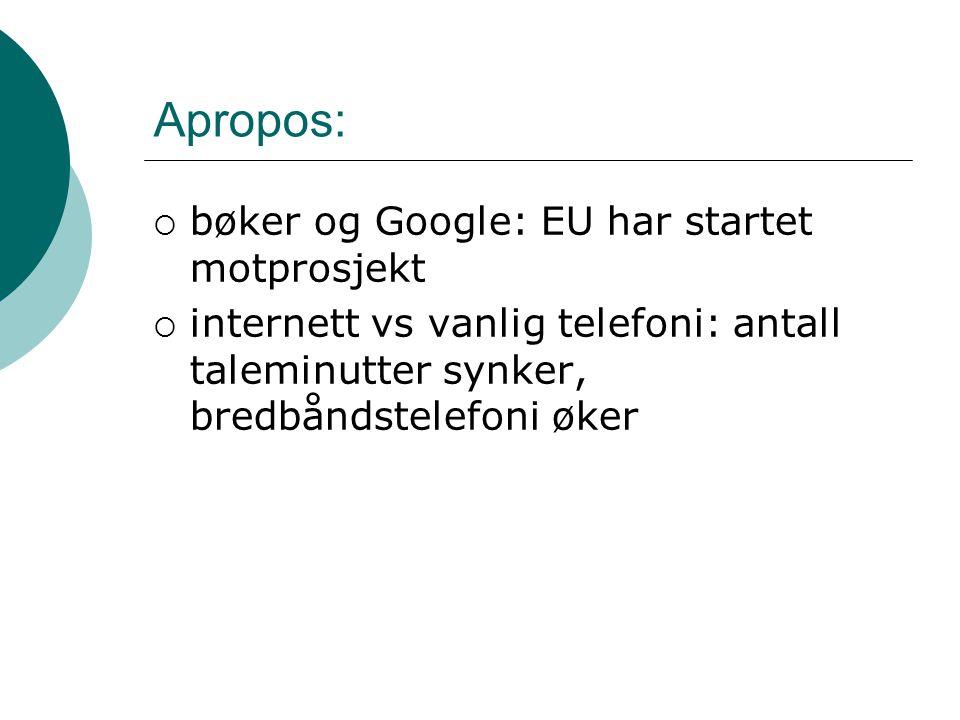 Apropos:  bøker og Google: EU har startet motprosjekt  internett vs vanlig telefoni: antall taleminutter synker, bredbåndstelefoni øker
