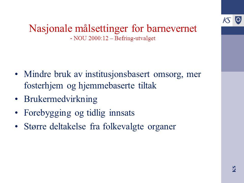 KS Nasjonale målsettinger for barnevernet - NOU 2000:12 – Befring-utvalget Mindre bruk av institusjonsbasert omsorg, mer fosterhjem og hjemmebaserte t