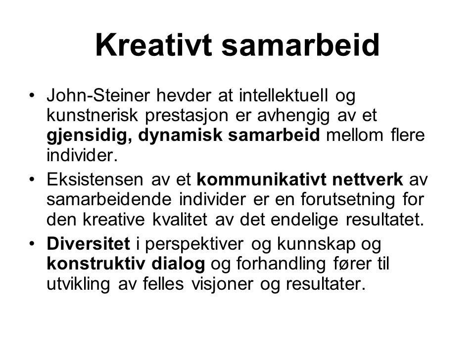 Kreativt samarbeid John-Steiner hevder at intellektuell og kunstnerisk prestasjon er avhengig av et gjensidig, dynamisk samarbeid mellom flere individ