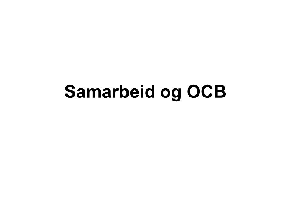 Samarbeid og OCB