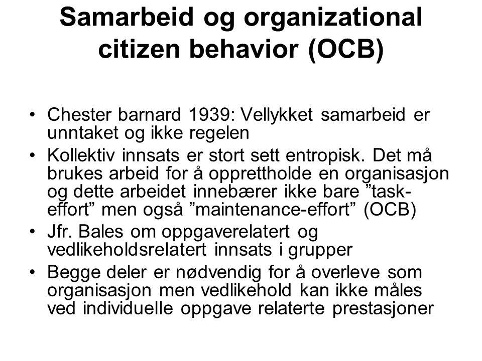 Samarbeid og organizational citizen behavior (OCB) Chester barnard 1939: Vellykket samarbeid er unntaket og ikke regelen Kollektiv innsats er stort se
