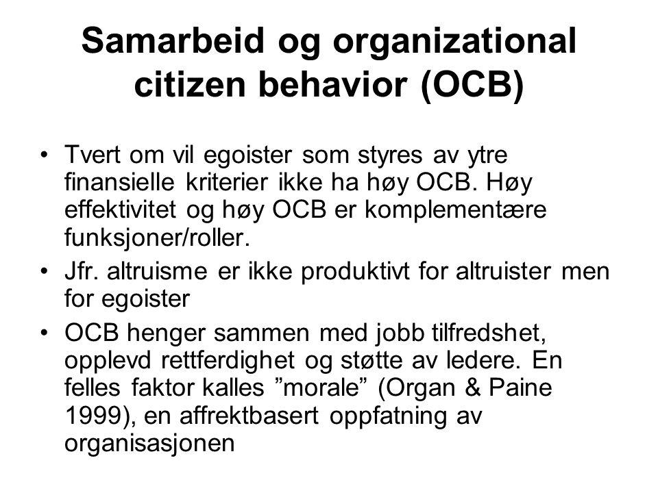 Samarbeid og organizational citizen behavior (OCB) Tvert om vil egoister som styres av ytre finansielle kriterier ikke ha høy OCB. Høy effektivitet og