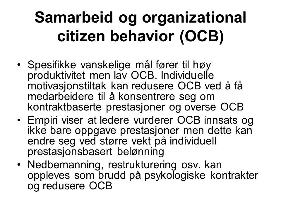 Samarbeid og organizational citizen behavior (OCB) Spesifikke vanskelige mål fører til høy produktivitet men lav OCB. Individuelle motivasjonstiltak k