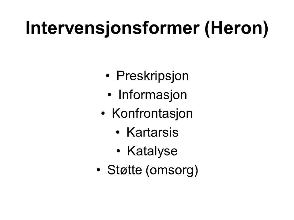 Intervensjonsformer (Heron) Preskripsjon Informasjon Konfrontasjon Kartarsis Katalyse Støtte (omsorg)