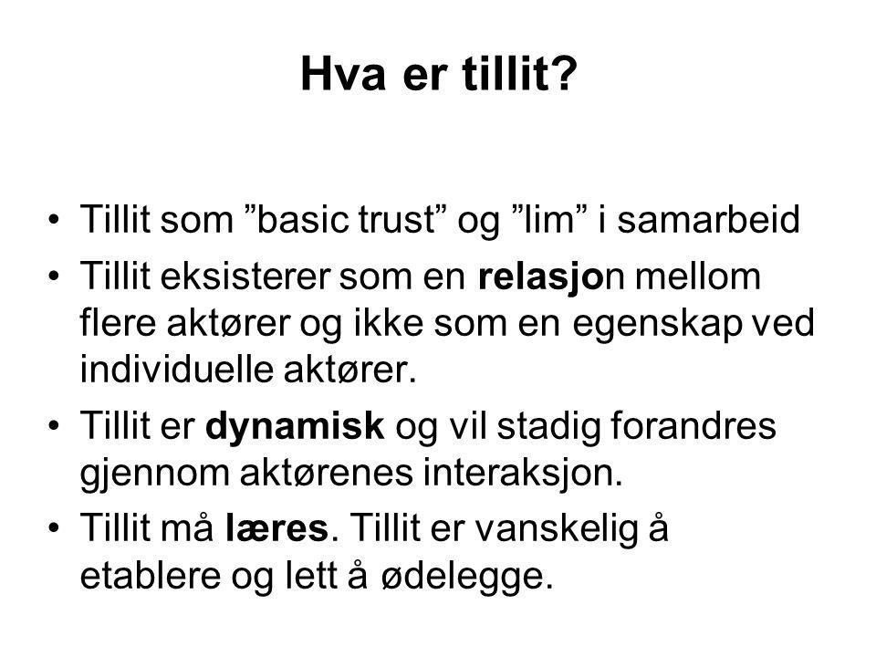 """Hva er tillit? Tillit som """"basic trust"""" og """"lim"""" i samarbeid Tillit eksisterer som en relasjon mellom flere aktører og ikke som en egenskap ved indivi"""