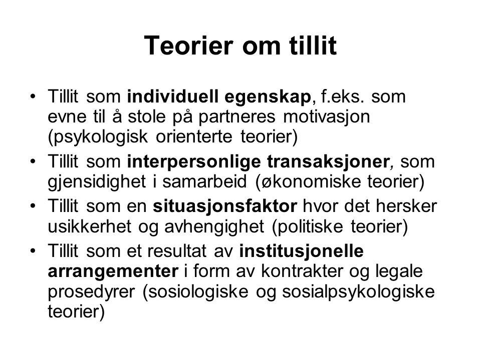 Teorier om tillit Tillit som individuell egenskap, f.eks. som evne til å stole på partneres motivasjon (psykologisk orienterte teorier) Tillit som int
