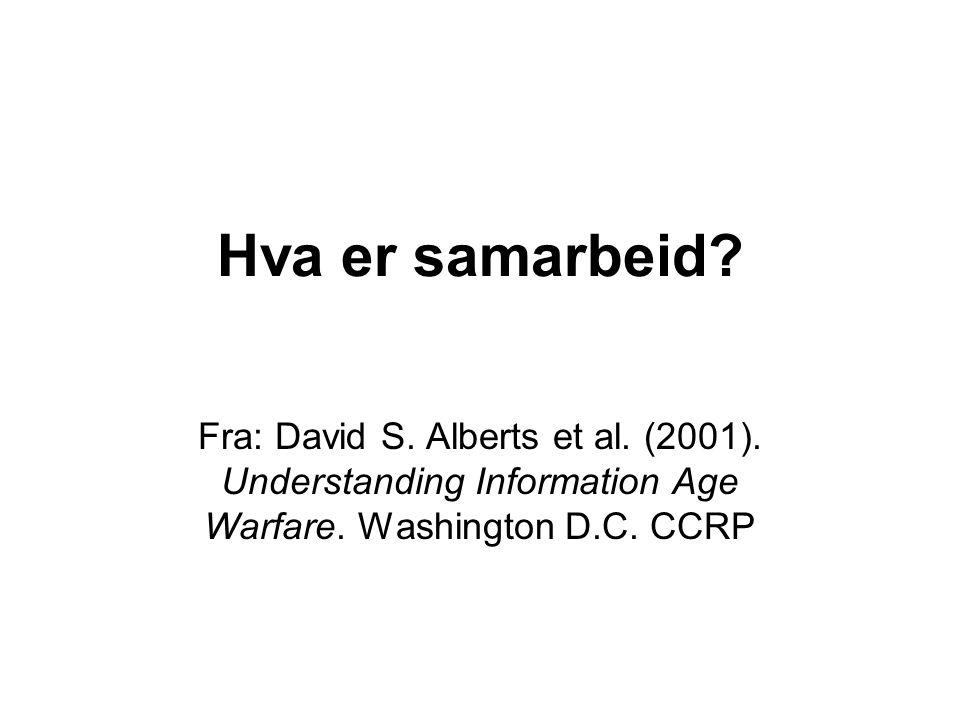 Hva er samarbeid? Fra: David S. Alberts et al. (2001). Understanding Information Age Warfare. Washington D.C. CCRP