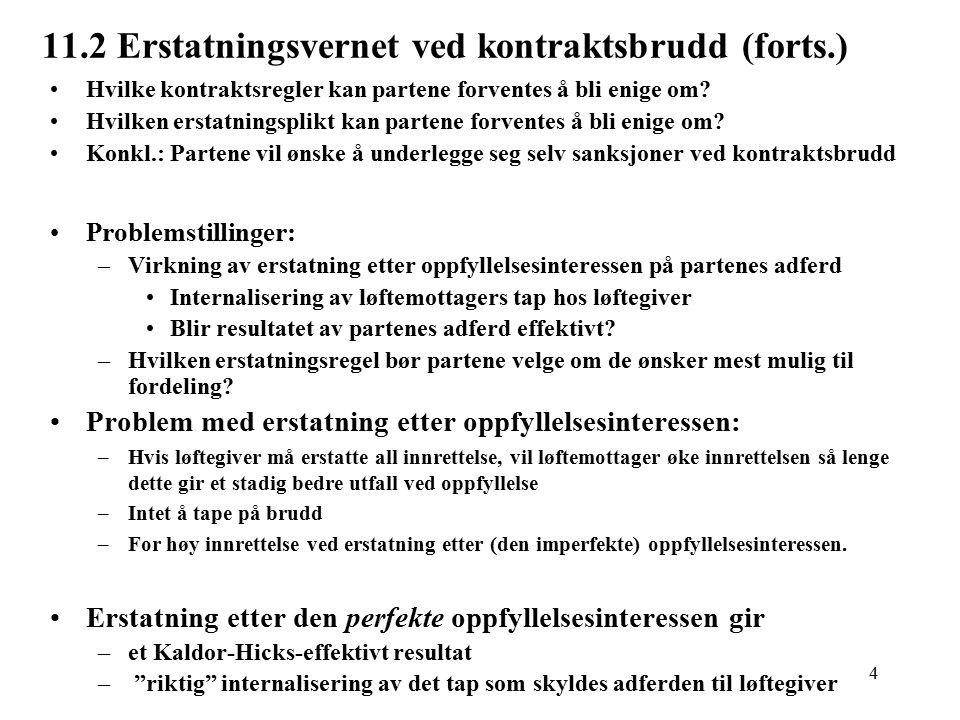 4 11.2 Erstatningsvernet ved kontraktsbrudd (forts.) Hvilke kontraktsregler kan partene forventes å bli enige om.