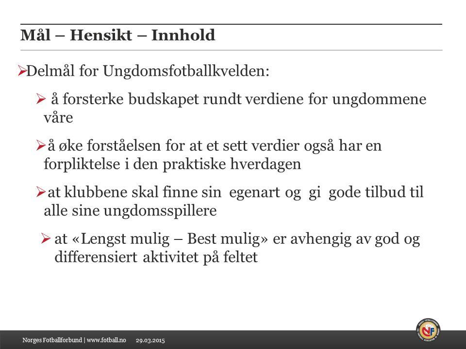 29.03.2015 INNHOLD Norges Fotballforbund | www.fotball.no DEL 1  DU SOM UNGDOMSFOTBALLTRENER  VERDIFULLT VERDIGRUNNLAG Side 4