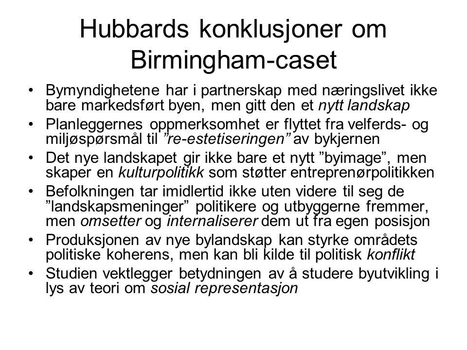 Hubbards konklusjoner om Birmingham-caset Bymyndighetene har i partnerskap med næringslivet ikke bare markedsført byen, men gitt den et nytt landskap