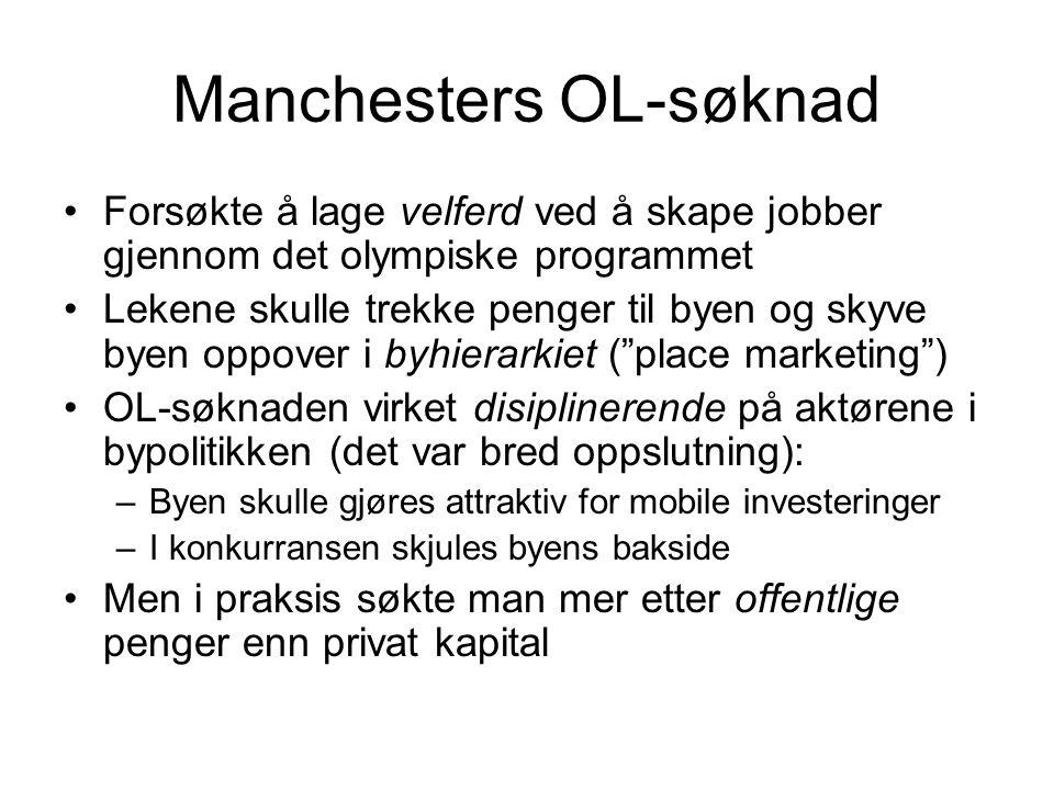 Manchesters OL-søknad Forsøkte å lage velferd ved å skape jobber gjennom det olympiske programmet Lekene skulle trekke penger til byen og skyve byen o