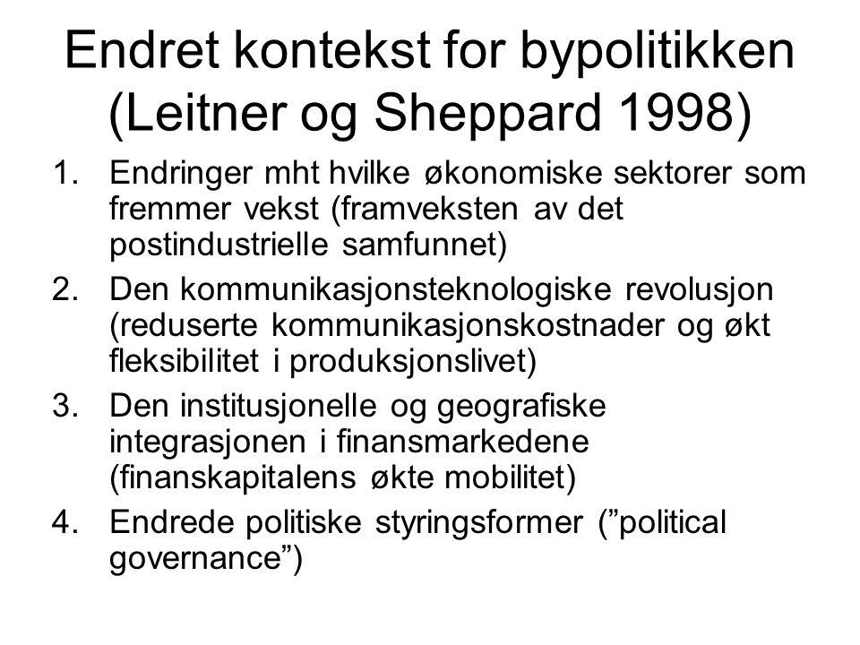 Endret kontekst for bypolitikken (Leitner og Sheppard 1998) 1.Endringer mht hvilke økonomiske sektorer som fremmer vekst (framveksten av det postindustrielle samfunnet) 2.Den kommunikasjonsteknologiske revolusjon (reduserte kommunikasjonskostnader og økt fleksibilitet i produksjonslivet) 3.Den institusjonelle og geografiske integrasjonen i finansmarkedene (finanskapitalens økte mobilitet) 4.Endrede politiske styringsformer ( political governance )