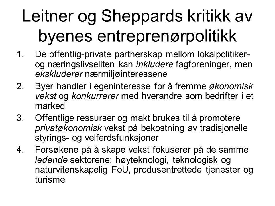 Leitner og Sheppards kritikk av byenes entreprenørpolitikk 1.De offentlig-private partnerskap mellom lokalpolitiker- og næringslivseliten kan inkluder