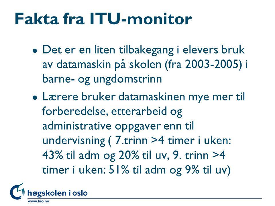 Fakta fra ITU-monitor l Det er en liten tilbakegang i elevers bruk av datamaskin på skolen (fra 2003-2005) i barne- og ungdomstrinn l Lærere bruker datamaskinen mye mer til forberedelse, etterarbeid og administrative oppgaver enn til undervisning ( 7.trinn >4 timer i uken: 43% til adm og 20% til uv, 9.