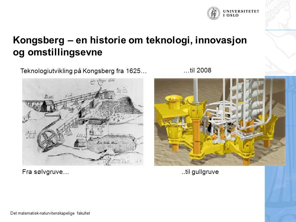 Det matematisk-naturvitenskapelige fakultet Kongsberg – en historie om teknologi, innovasjon og omstillingsevne Teknologiutvikling på Kongsberg fra 1625… …til 2008 Fra sølvgruve…..til gullgruve