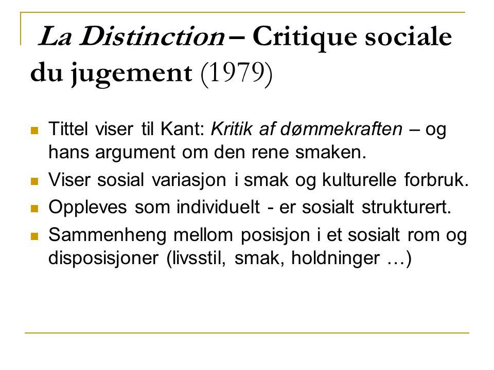 La Distinction – Critique sociale du jugement (1979) Tittel viser til Kant: Kritik af dømmekraften – og hans argument om den rene smaken. Viser sosial