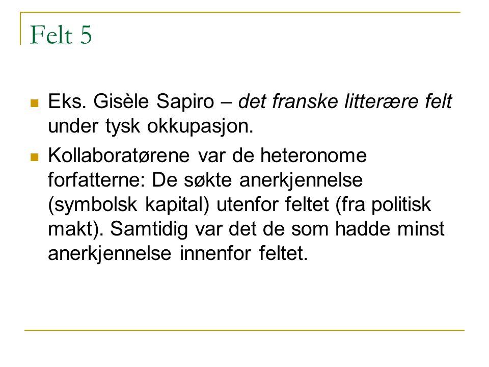 Felt 5 Eks. Gisèle Sapiro – det franske litterære felt under tysk okkupasjon. Kollaboratørene var de heteronome forfatterne: De søkte anerkjennelse (s