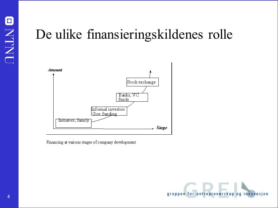 4 De ulike finansieringskildenes rolle