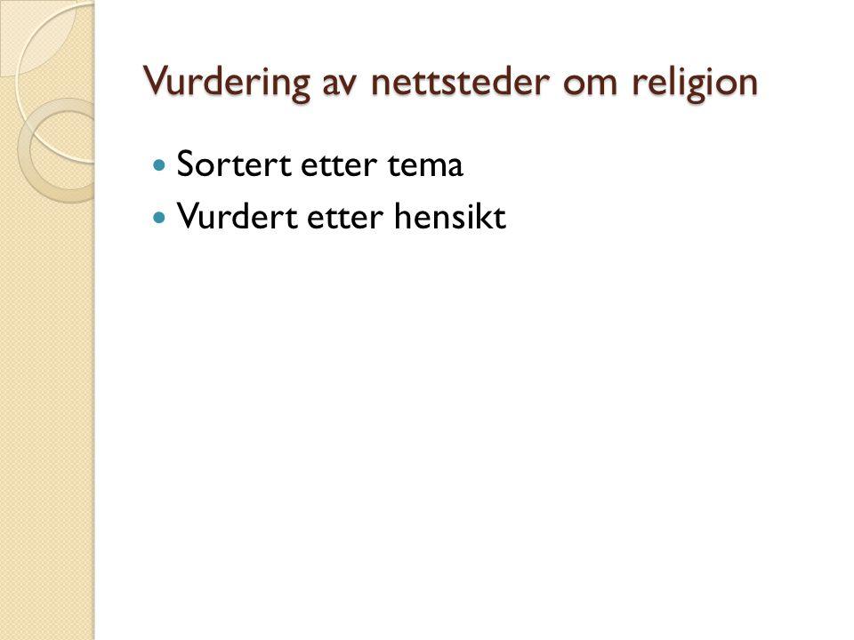 Vurdering av nettsteder om religion Sortert etter tema Vurdert etter hensikt