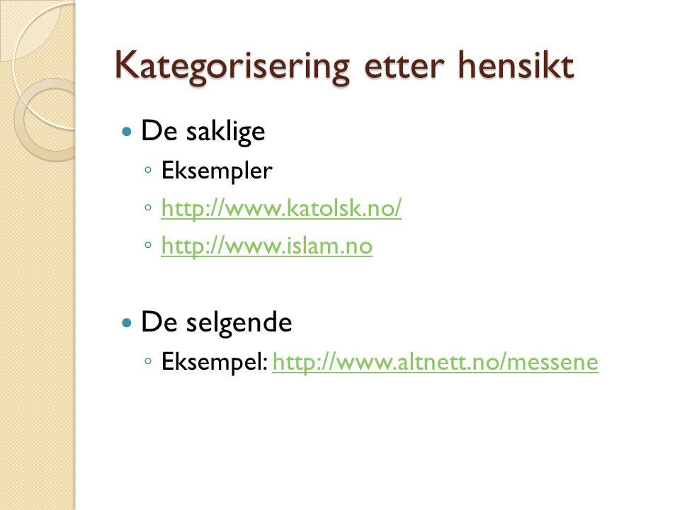 Kategorisering etter hensikt De saklige ◦ Eksempler ◦ http://www.katolsk.no/ http://www.katolsk.no/ ◦ http://www.islam.no http://www.islam.no De selge