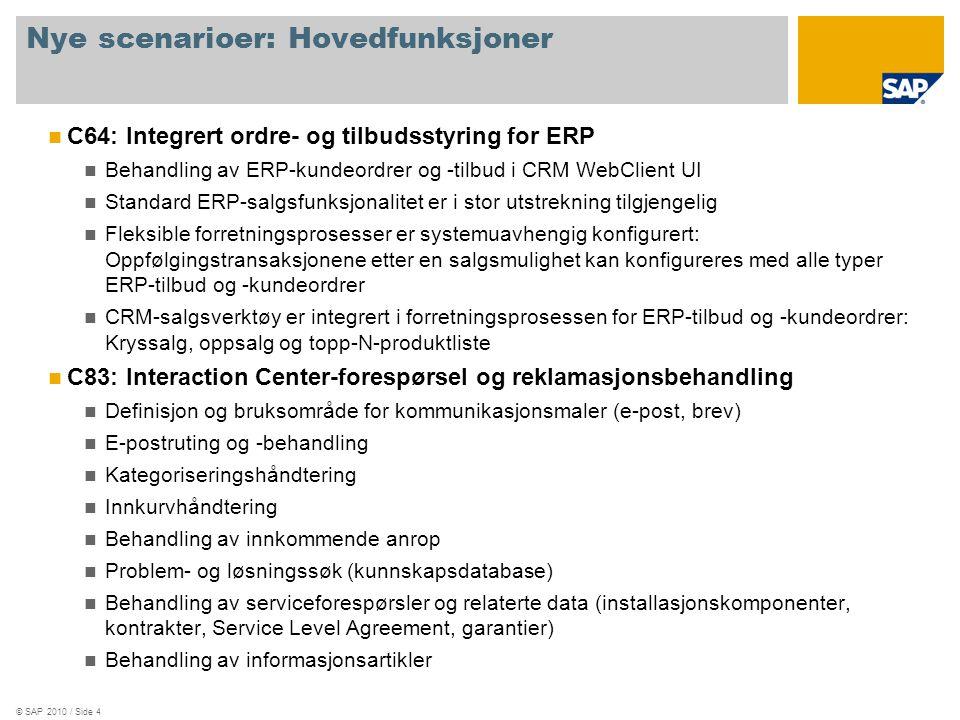 © SAP 2010 / Side 5 Nytt implementeringsinnhold: Moduler C34: CRM-integrert ordre- og tilbudsstyring for ERP ERP-kundeordrer og -tilbud i CRM WebClient UI ERP-kundeordrer med fullstendig ERP-funksjonalitet ved hjelp av SAP GUI- integrert CRM WebClient UI C35: Interaction Center-forespørsel og reklamasjonsbehandling i CRM IC-behandling av serviceforespørsler i IC WebClient UI Kommunikasjonsmaler Kategorisering på flere nivåer E-postruting Behandlerinnkurv Kunnskapssøk Kunnskapsartikler
