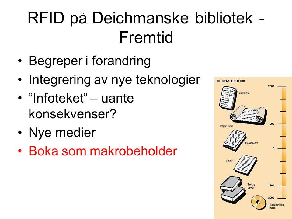 """RFID på Deichmanske bibliotek - Fremtid Begreper i forandring Integrering av nye teknologier """"Infoteket"""" – uante konsekvenser? Nye medier Boka som mak"""