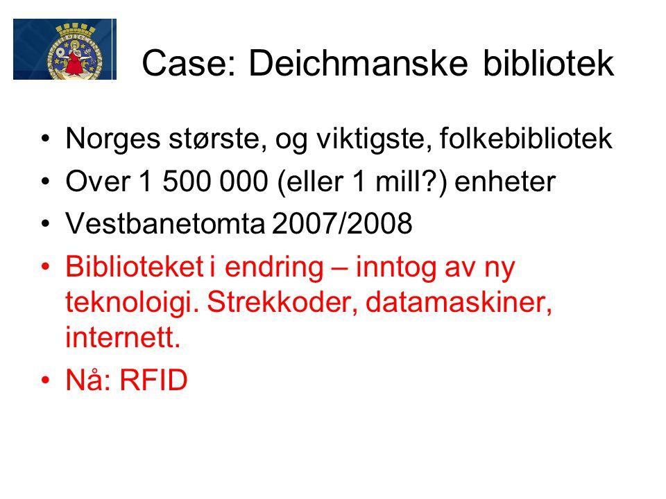 Case: Deichmanske bibliotek Norges største, og viktigste, folkebibliotek Over 1 500 000 (eller 1 mill?) enheter Vestbanetomta 2007/2008 Biblioteket i