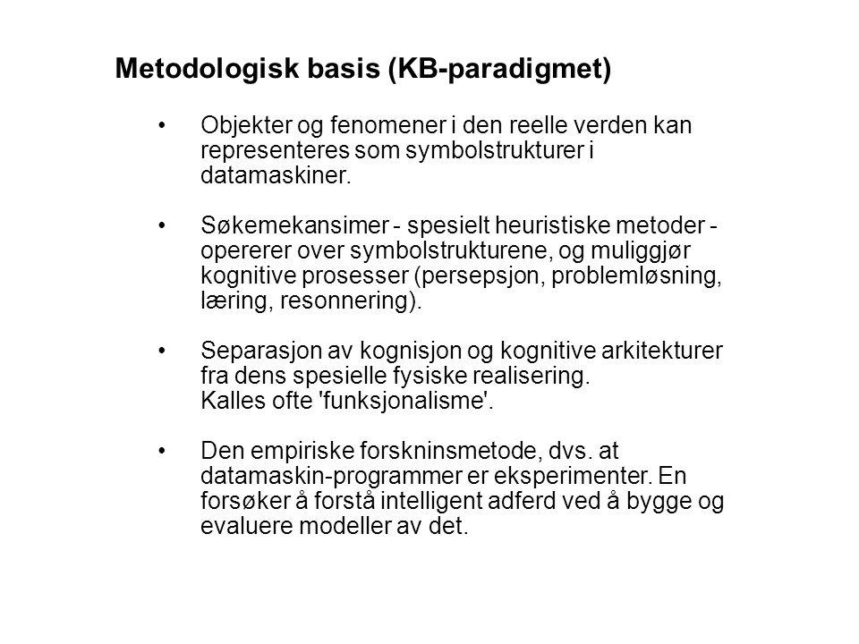 Metodologisk basis (KB-paradigmet) Objekter og fenomener i den reelle verden kan representeres som symbolstrukturer i datamaskiner.