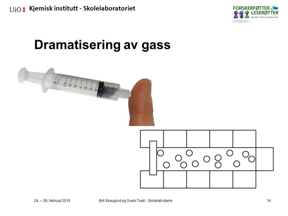 Kjemisk institutt - Skolelaboratoriet Dramatisering av gass 24.