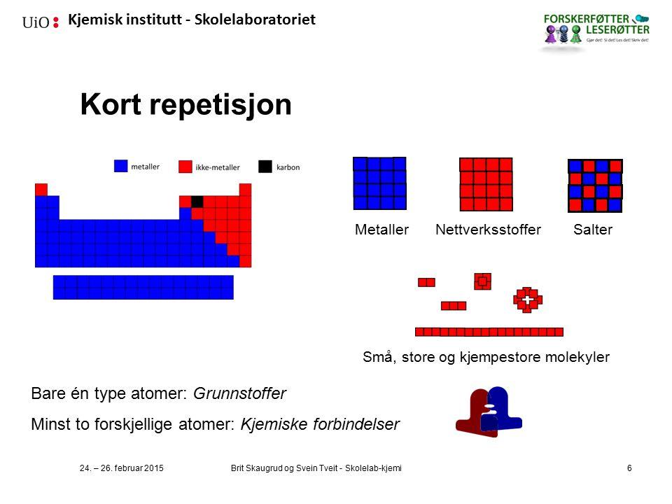 Kjemisk institutt - Skolelaboratoriet Kort repetisjon 24.