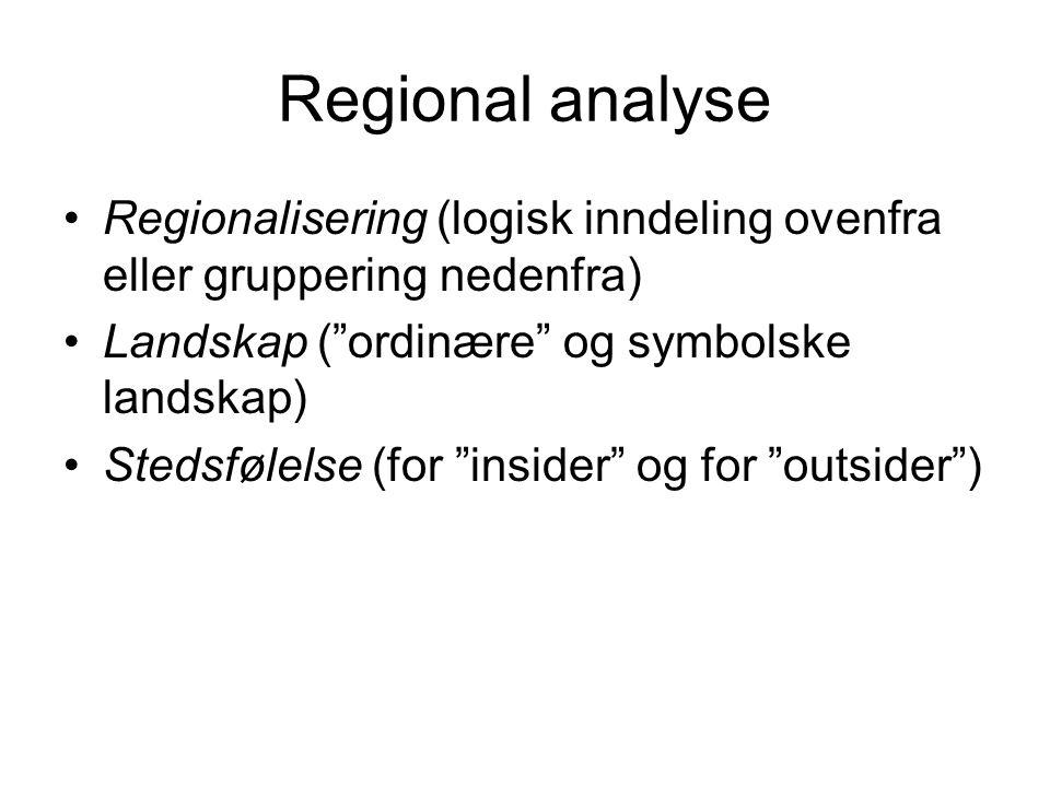 """Regional analyse Regionalisering (logisk inndeling ovenfra eller gruppering nedenfra) Landskap (""""ordinære"""" og symbolske landskap) Stedsfølelse (for """"i"""