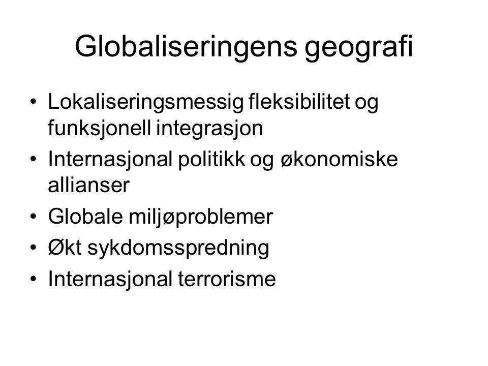 Globaliseringens geografi Lokaliseringsmessig fleksibilitet og funksjonell integrasjon Internasjonal politikk og økonomiske allianser Globale miljøpro