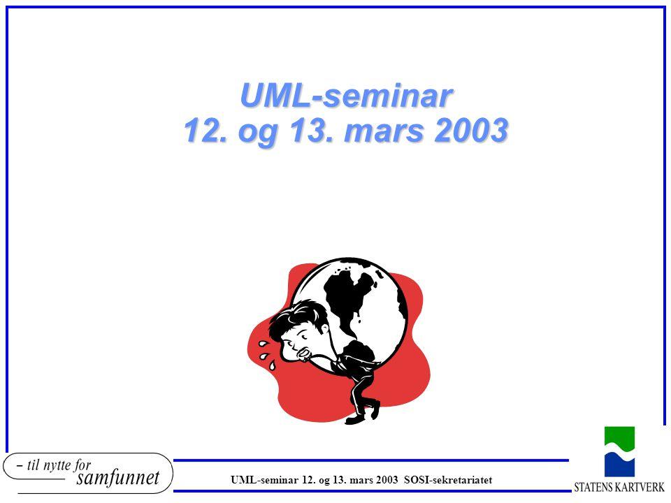 UML-seminar 12. og 13. mars 2003 UML-seminar 12. og 13. mars 2003 SOSI-sekretariatet
